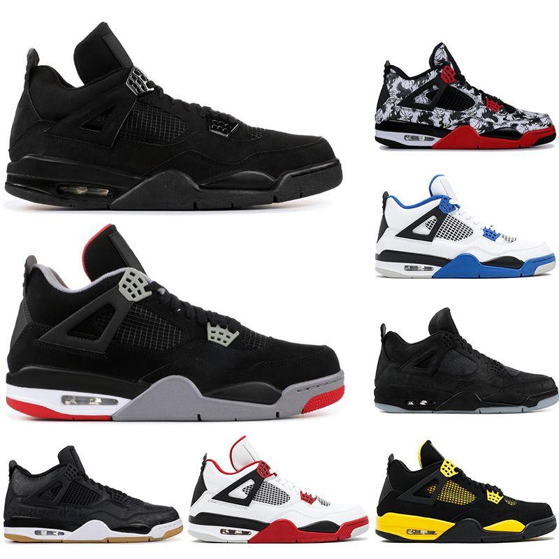 Nike AIR Jordan 4  mit freien Socken neue AirJordanRetro gezüchtet 4 4s Basketballschuhe oreo Tatoo kühlen Donner Mens sports Designer-Schuh sneskers 40-47