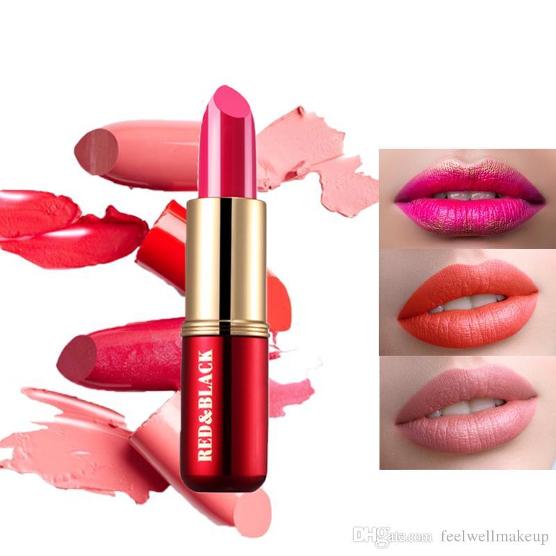RedBlack 3.8g Barra de labios Mate Barra de labios de terciopelo impermeable 19 colores Sexy Pigmentos rojos Maquillaje Lápices labiales mate Labios de belleza