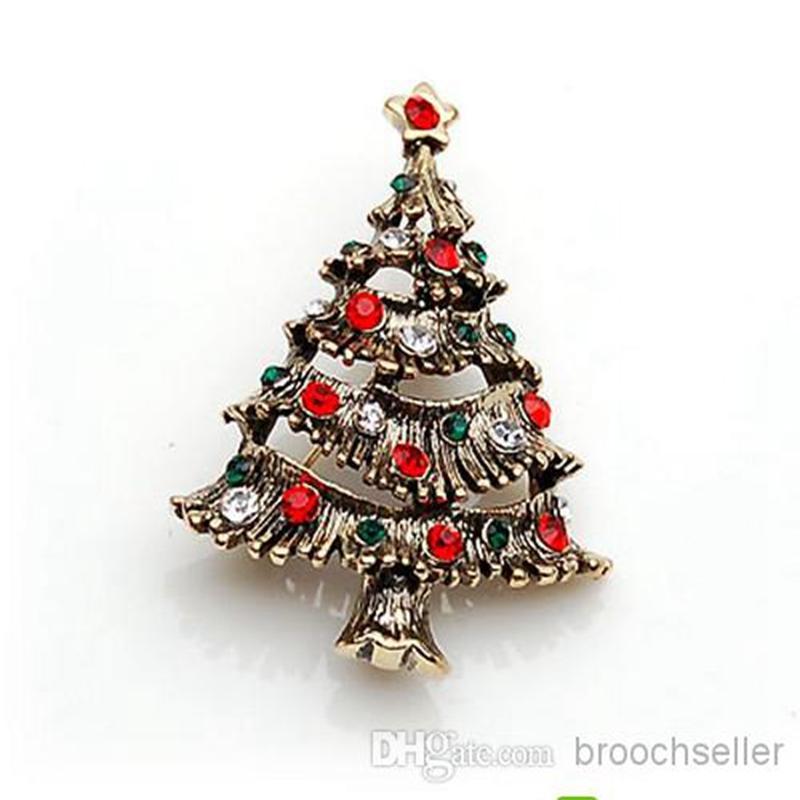 Antikes Gold bunte Strass Crystal Diamante Weihnachten Pin Brosche
