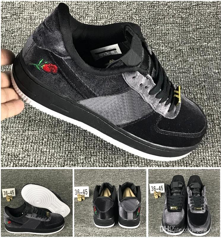 Hot selling BLACK velvet Rose embroidery Skateboarding sports shoes unisex skate classics sneaker men women perfect footwear size EUR36-45