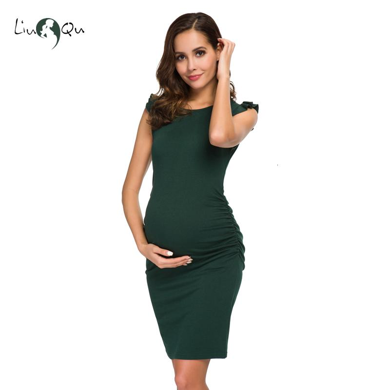 Maternity Dress Womens Ruffle Off Shoulder Casual Maxi Bodycon Dress Summer Solid Pregnancy Clothes