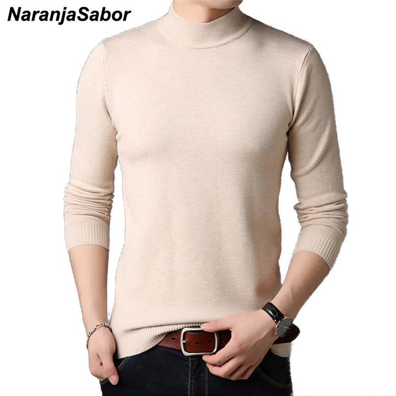 NaranjaSabor 2019 Mens Новый пуловер вязать свитер Slim Fit Solid Color Half-высокий воротник свитера вскользь Мужчины Марка одежды N562