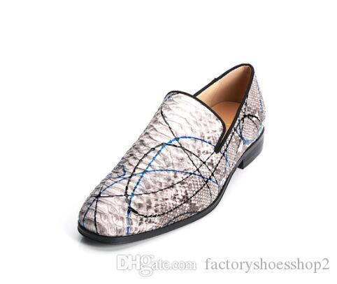 Mocassini uomo in pelle di serpente di alta qualità Scarpe in pelle stampata Slip-on Scarpe da sposa Pittura Graffiti Fashion Men dress Shoes