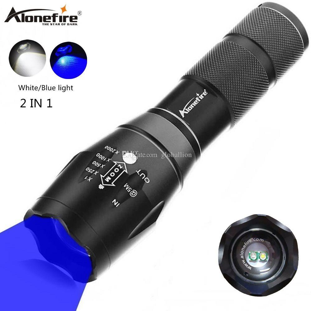 Alonefire G700-WB White+Bule light LED Camping Fishing Flash Tactical FocuPortable hiking Adventure hunting Search and rescue 18650 Battery
