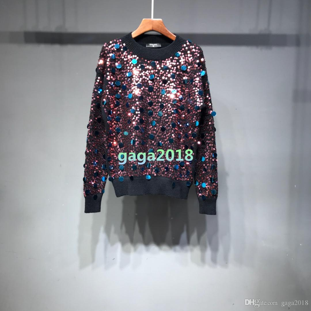 Hight end Women grils sweater knit wool cotton cardigan Pullover Lady Viscose Outerwear knitted suit SHIRT tops blouse with sequins details