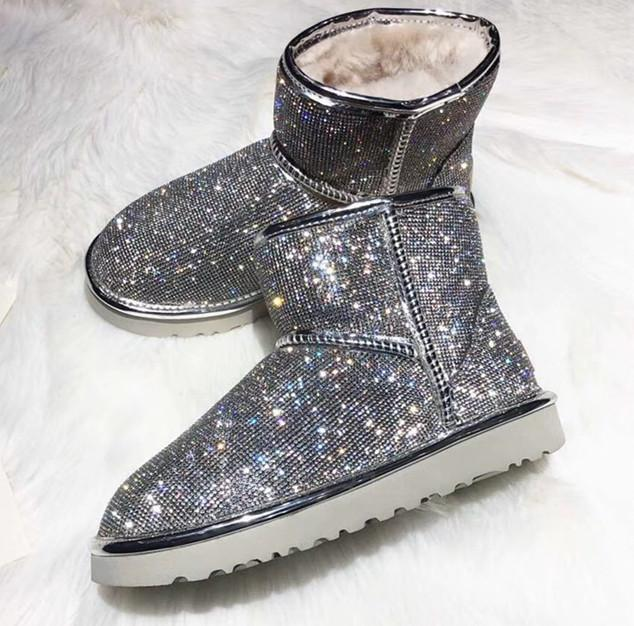 Nouvelle hiver bottes de neige classiques de bonne mode GG cristal Swarovski Diamondtall chaussure genou femmes livraison gratuite 35-40