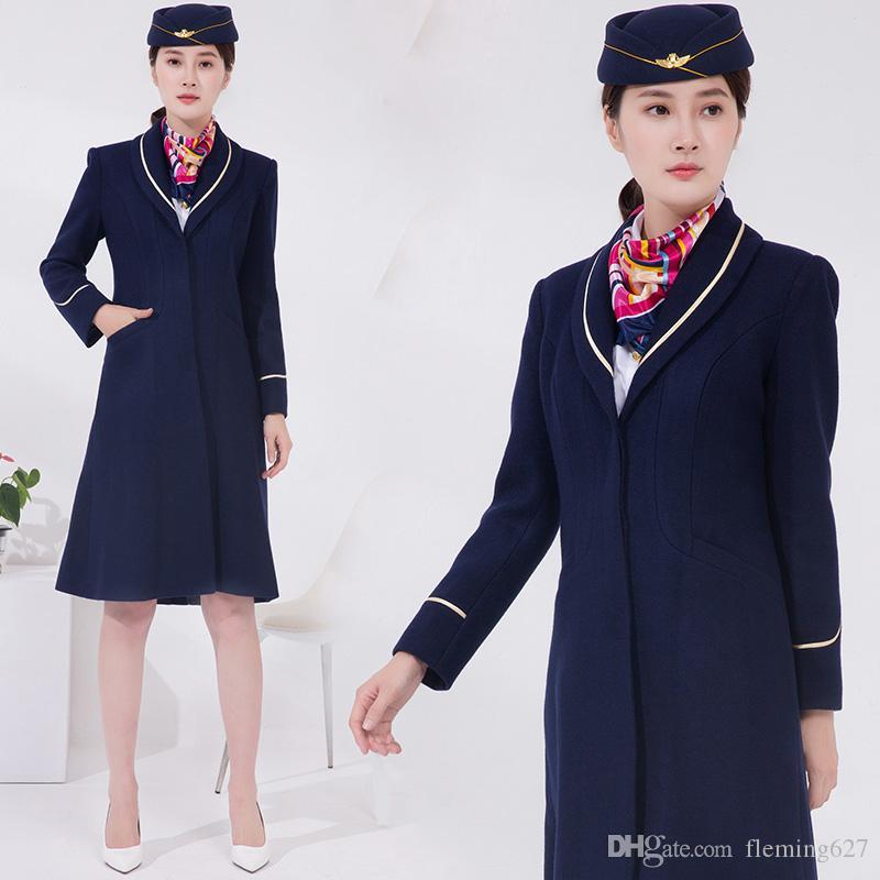 Acheter Air China Flight Hiver Manteau De Prepose Uniforme A Long