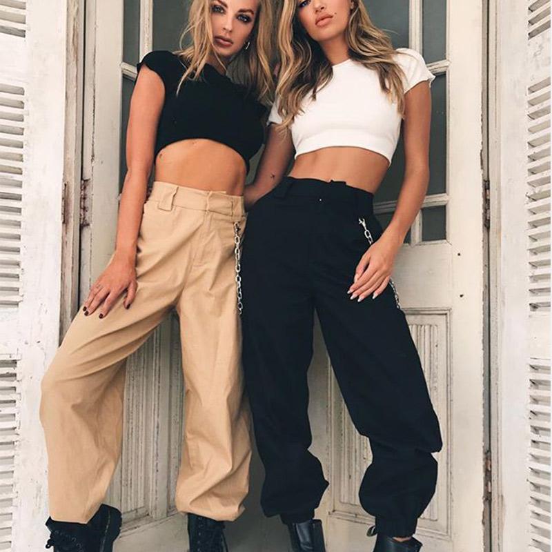 Le hip hop à long noir des femmes pantalons de course avec des chaînes, les femmes lâche pantalon taille haute, la mode printemps 2020, le bouton de la rue des femmes