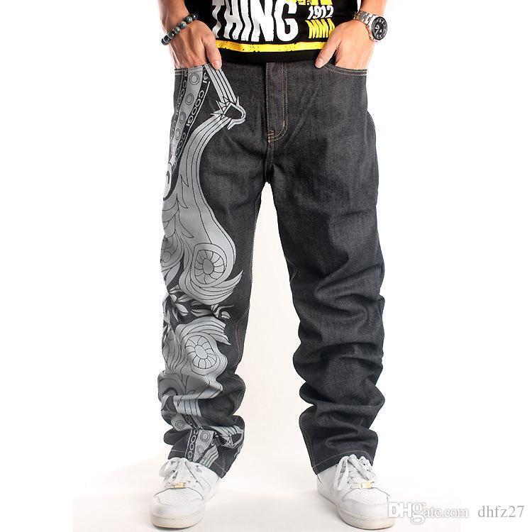 033 # Tendências européias e americanas bordado soltas calças casuais hiphop homens
