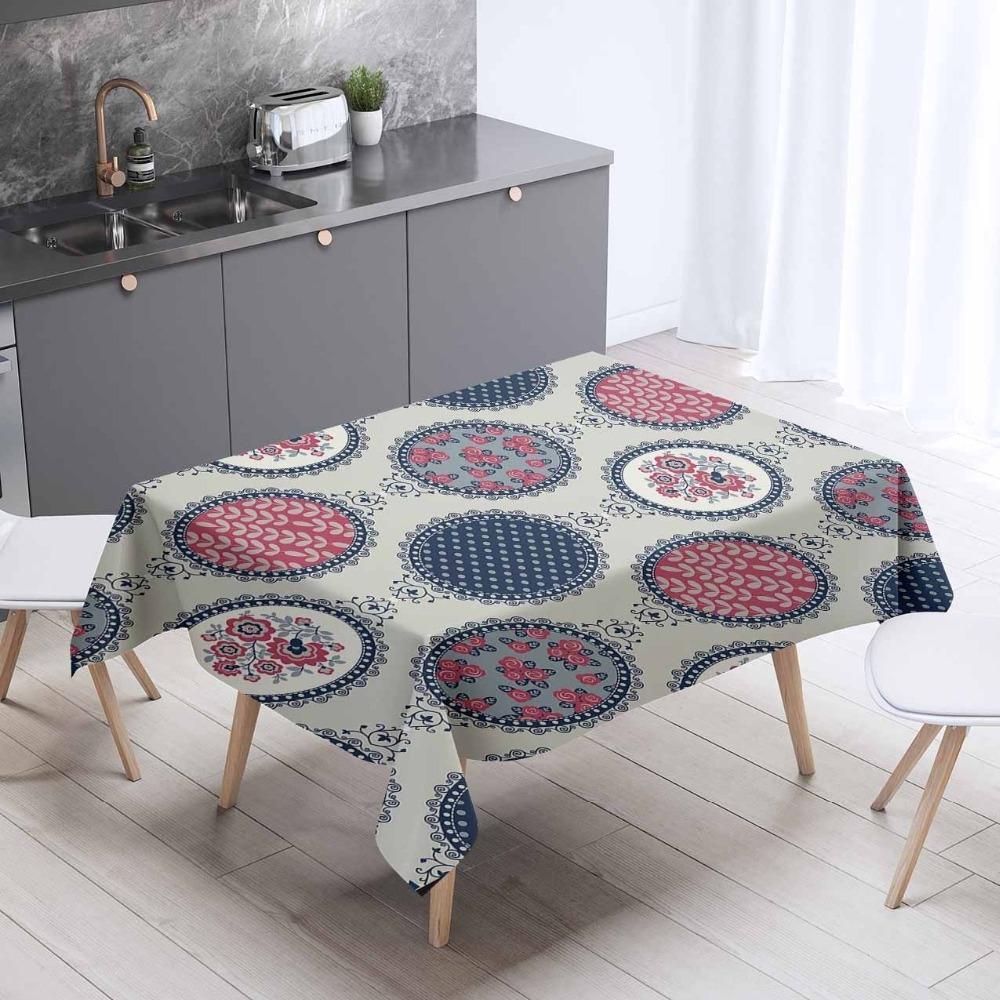 Else Geometric Retro Red Blue Table Cloths Home Textiles Floral Circle 3d Pattern Print Washable Thicken Cotton Cloth Rectangular Square Kit