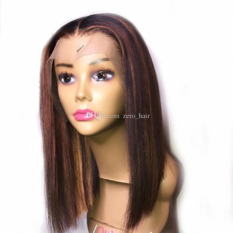 Silk Top Ombre Highlight Invisible Color Bob Lace Front Human Hair Wigs for Women Brazilian Remy Hair Full Lace Wig Bleached Knots