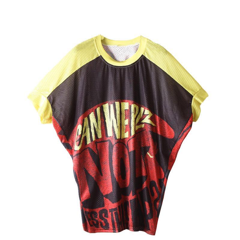 2019 señoras del verano mangas de murciélago camiseta falda de moda camisa de manga media suelta gran tamaño gordo blusa letras de color ropa de mujer
