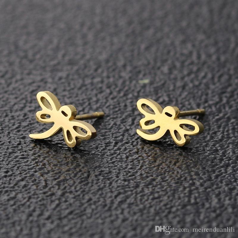 Orecchini a forma di libellula d'oro per le donne Orecchini a vite animali carini svegli per le ragazze Regalo caldo Argento nero oro Ccolors Acciaio inossidabile