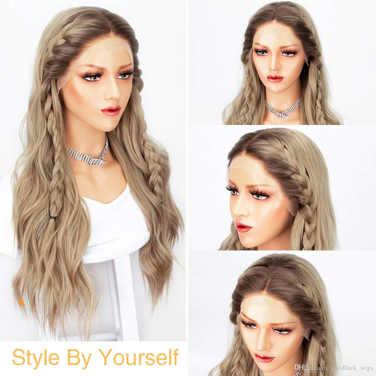 Sexy Ombre Blonde Long Wavy Synthetic Lace Front Wig Brown Roots Ash Blonde Glueless Soft Wigs Middle Part Heat Resistant for Women