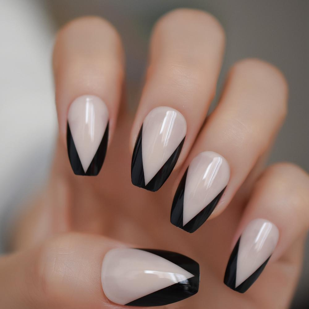 Ballerina Nail Art Tips Beige Nude Black French False Coffin Nails