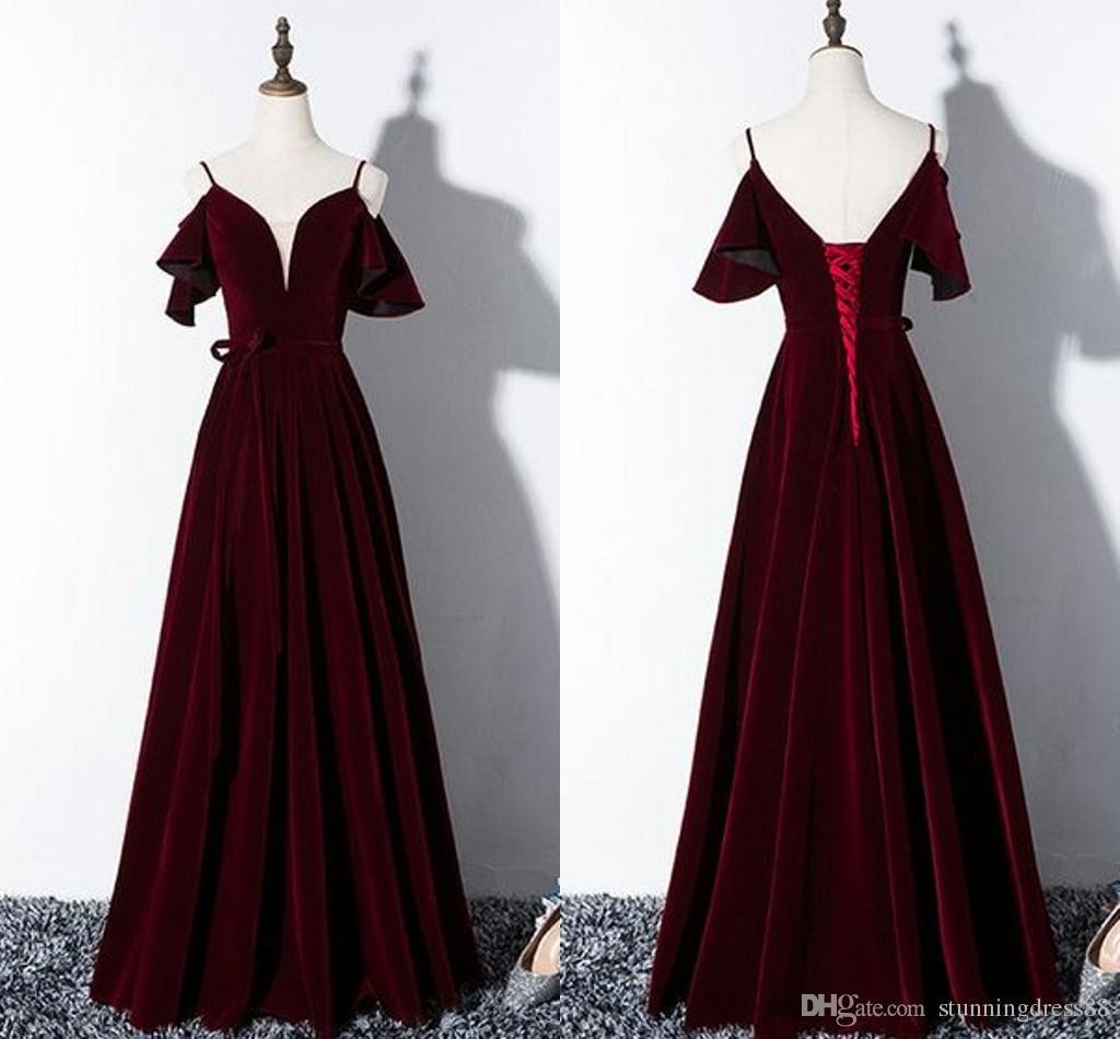 Fashion Burgundy Cold Shoulder Evening Dresses Lace up Back Velvet Bridesmaid party Formal Gowns Celebrity Prom Dress Long Cheap