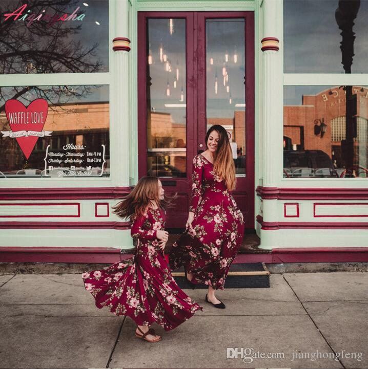 Madre Hija Vestidos largos La más nueva Mamá y yo Ropa de boda Vestido Mujer Chica Ropa de bebé Fiesta Mama Madre y Yo Ropa