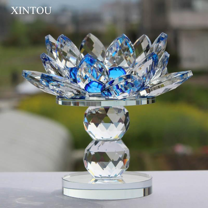 XINTOU verre cristal bloc Lotus Flower Bougeoirs Feng Shui mariage Home Decor Big Photophore Bougeoir Stand Candlestick