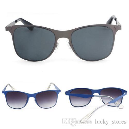 Moda Flat Metal Sunglasses Homens Mulheres Mulher Designer Frame Condução de Sol Óculos UV400 Marca Eyewear B52 com casos