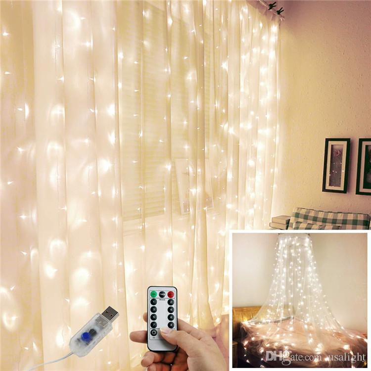 3M LED Rideau lampe blanc chaud de Noël de lumières télécommande fée USB guirlande lumineuse Chambre éclairage Décoration