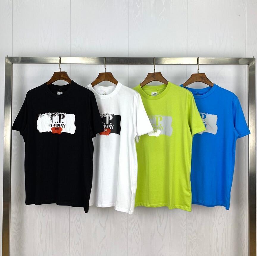 2020SS Mens Designer camisetas C.P. Empresa Chemburn gráfico spray Logo impressão em torno do pescoço de algodão T-shirt Designer Camiseta T preto e branco