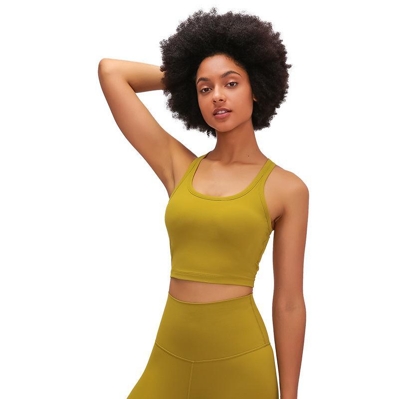 LU-81 اليوغا اللياقة البدنية المحاصيل القمم المرأة القطن يشعر مبطن الرياضة براس تانك مع إزالة الصدر وسادات Size4-12