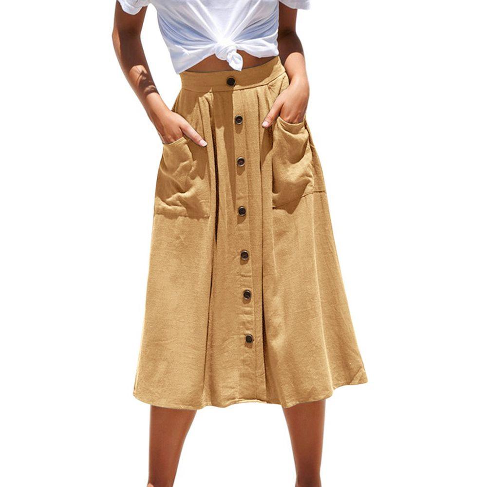 A-ligne Casual Jupes femme Boutons Jupes Décoration élégante Boho Summer Beach New Lady Pockets Taille Jupe plus