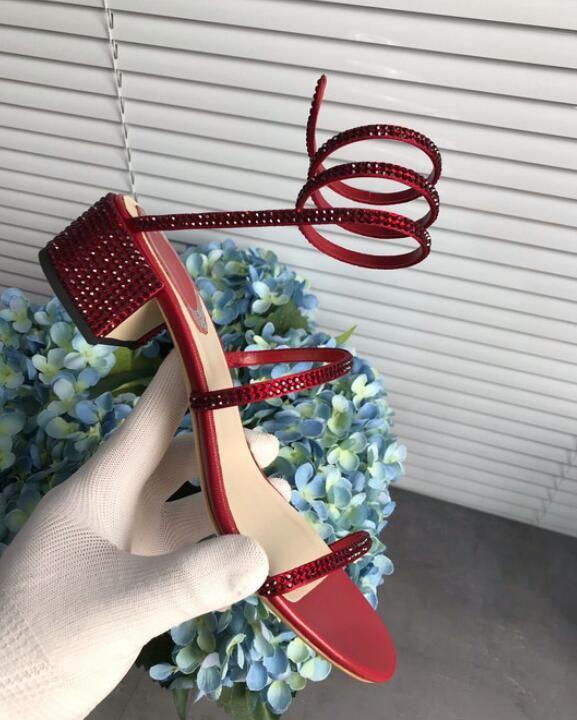 5CM Haut Femmes Sandales compensées Perle Magique en peau de mouton légère En Cuir Rene Dame Ceinture En Strass Chaussures Sandale Femininas 35-40