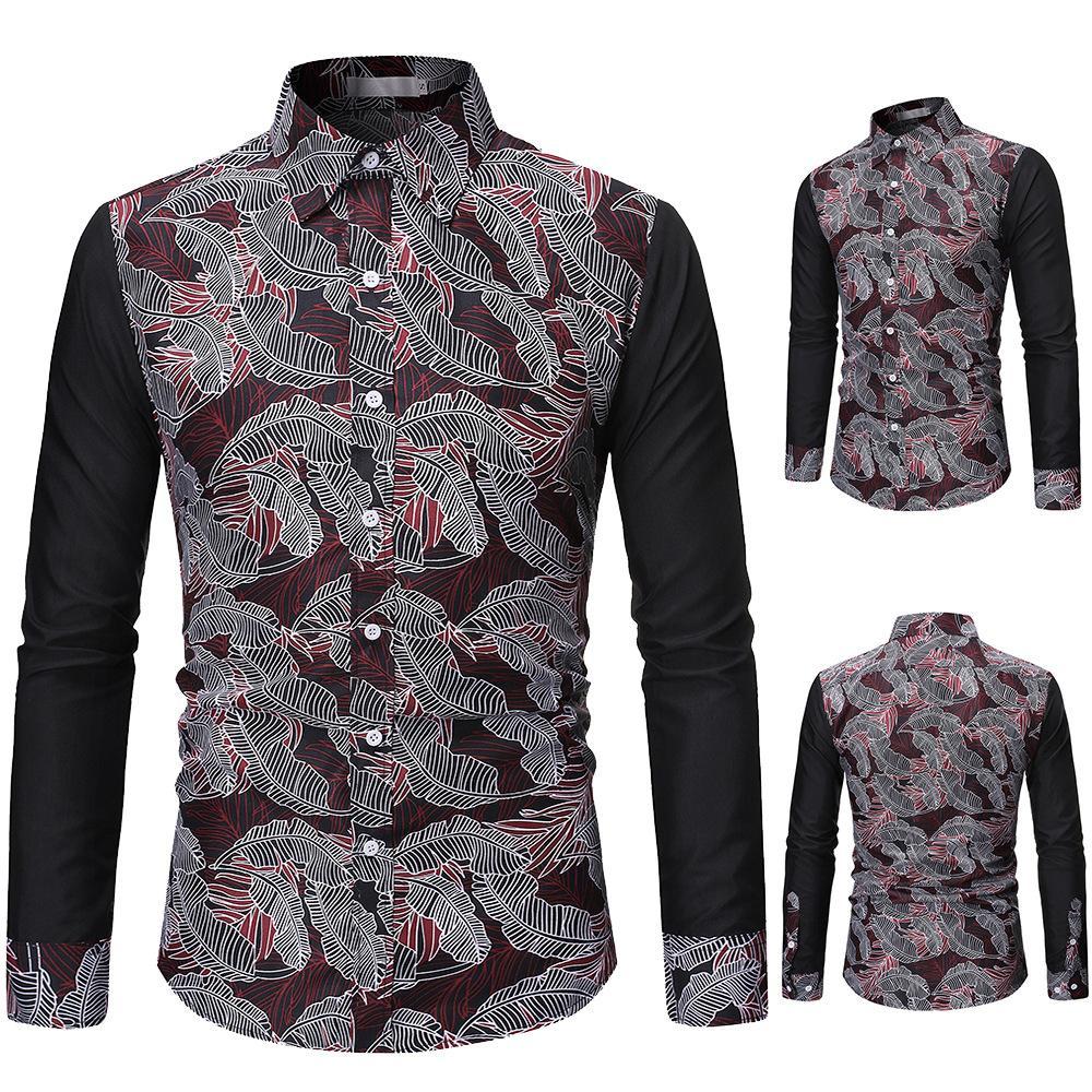Erkekler 3D renk kontrastı Uzun Kollu Gömlek Erkekler Avrupa yaprak 3D baskı gece kulübü gençlik erkek tasarımcı t shirt t shirt elbise