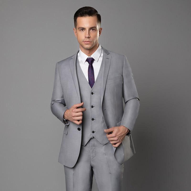 Groom Tuxedos Light Grey/Burgundy/Navy Blue Groomsman Wedding 3 Piece Suit Popular Men Business Prom Jacket Blazer(Jacket+Pants+Tie+Vest)278