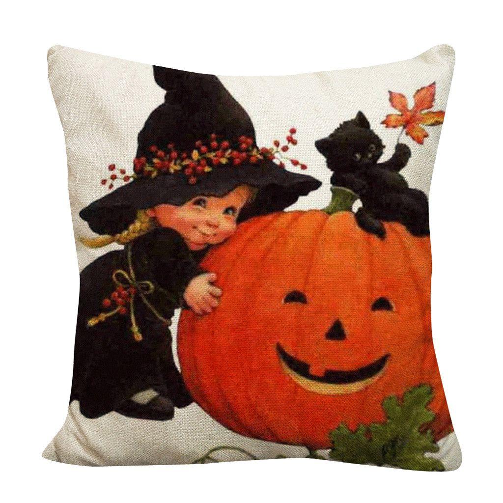 Fodera per cuscino Happy Halloween Christmas housses de coussins beige pivoines Pumpkin Square Pumpkin ghosts Festival decoration19AUG6