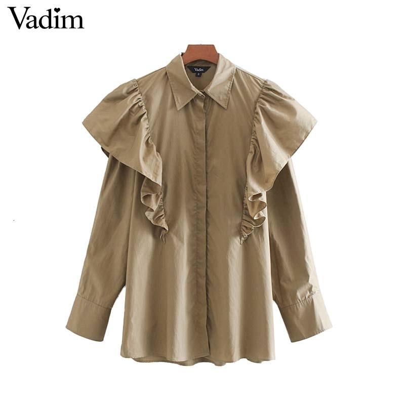 Vadim Frauen Jahrgang Rüschen khaki Bluse lange Hülse weibliches beiläufige Hemden Büro trägt retro fest schick Tops Blusas LB489 V191028