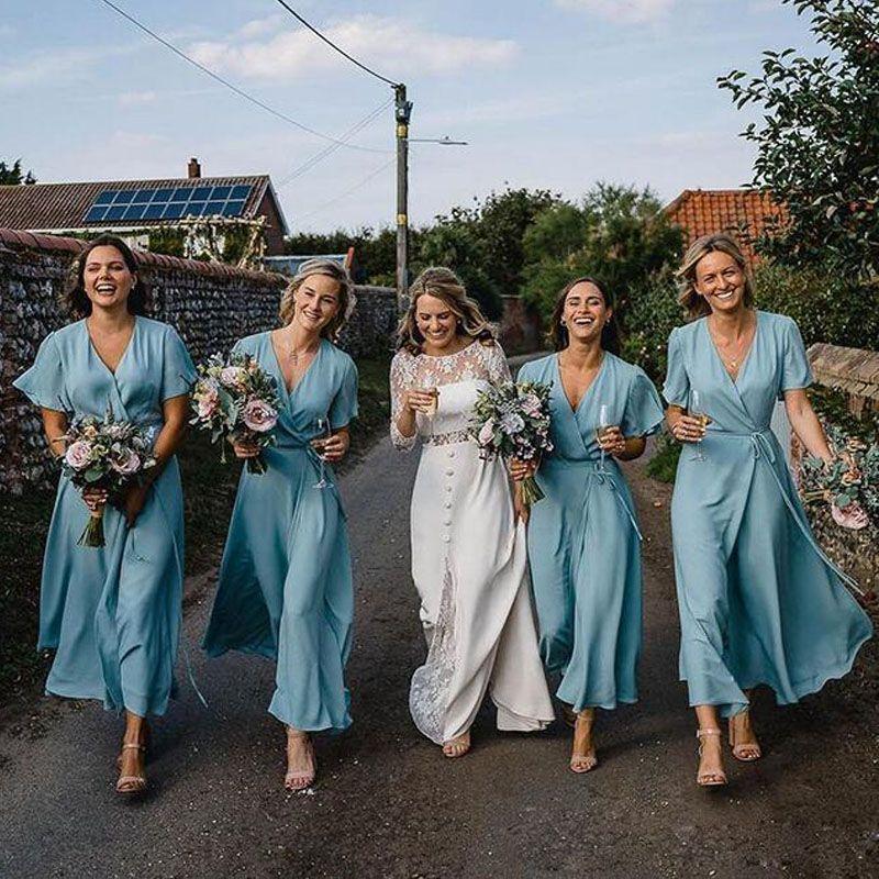 Простые Шифон Длинные Платья Невесты V Шеи С Коротким Рукавом Свадебные Платья Свадебная Вечерняя Одежда на Заказ Maid of Honor