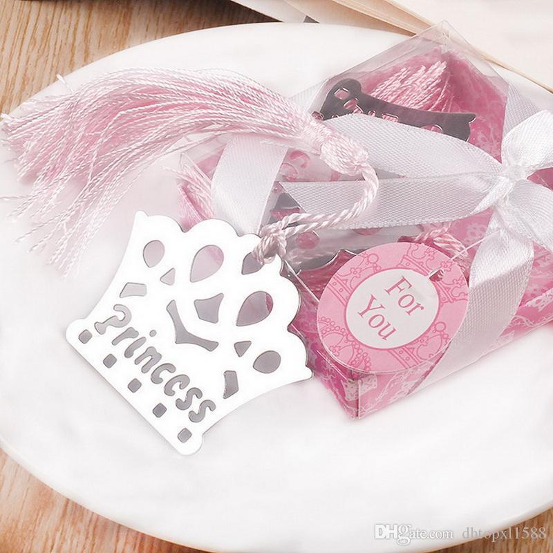 Hot argento nappe in acciaio inox corona segnalibro per matrimonio baby shower festa compleanno favore regalo souvenir
