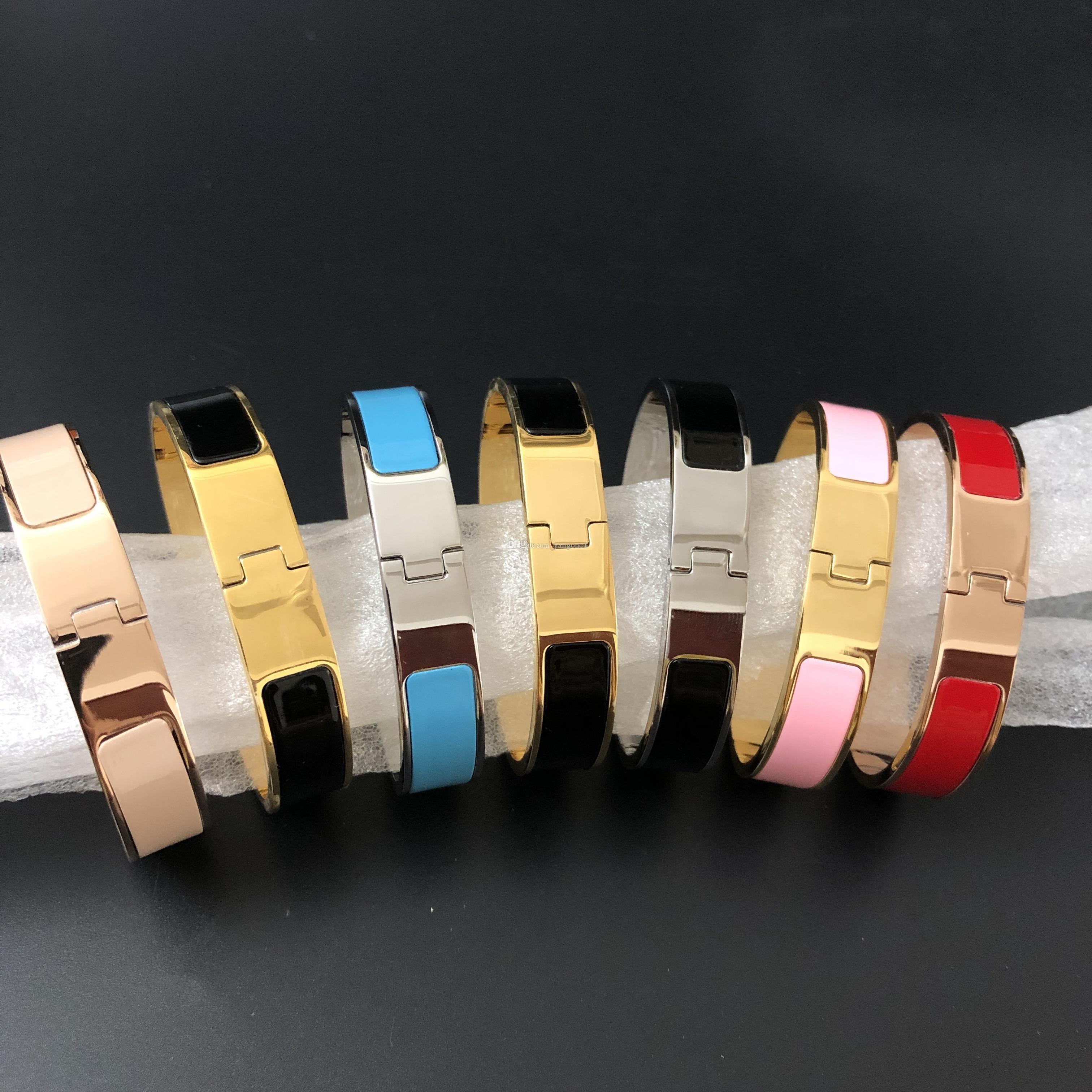 Heißer Verkauf Fashion12mm Armband für Frauen Damen Titan Stahl Mode Armband mit 3 Farben Schmuck Freies Verschiffen (No Box)