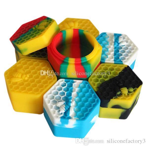 2 pçs / lote 26 ml hexágono com abelha sortida cor recipiente de silicone para Dabs Recipientes De Silicone de Forma Redonda cera Silicone Jars recipientes Dab