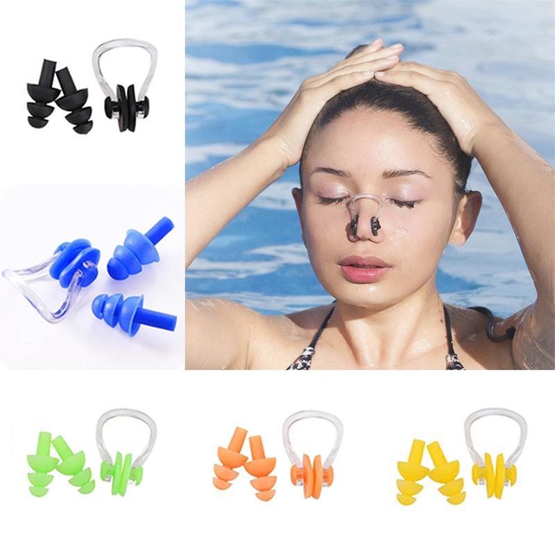 무료 배송 고순도 부드러운 실리콘 수영 귀마개 코 클립 설정 방수 방수 다이빙 서핑 수영장 액세서리