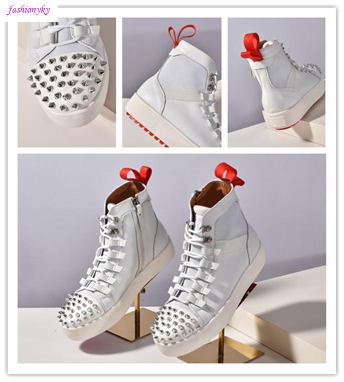 Gli ultimi pattini del progettista nuovo appartamento in neoprene Sneakers Mens inferiori rosse Scarpe Donna Rivetto Spiky calzino Junior picchi di rosso Sole Numero di scarpe 35