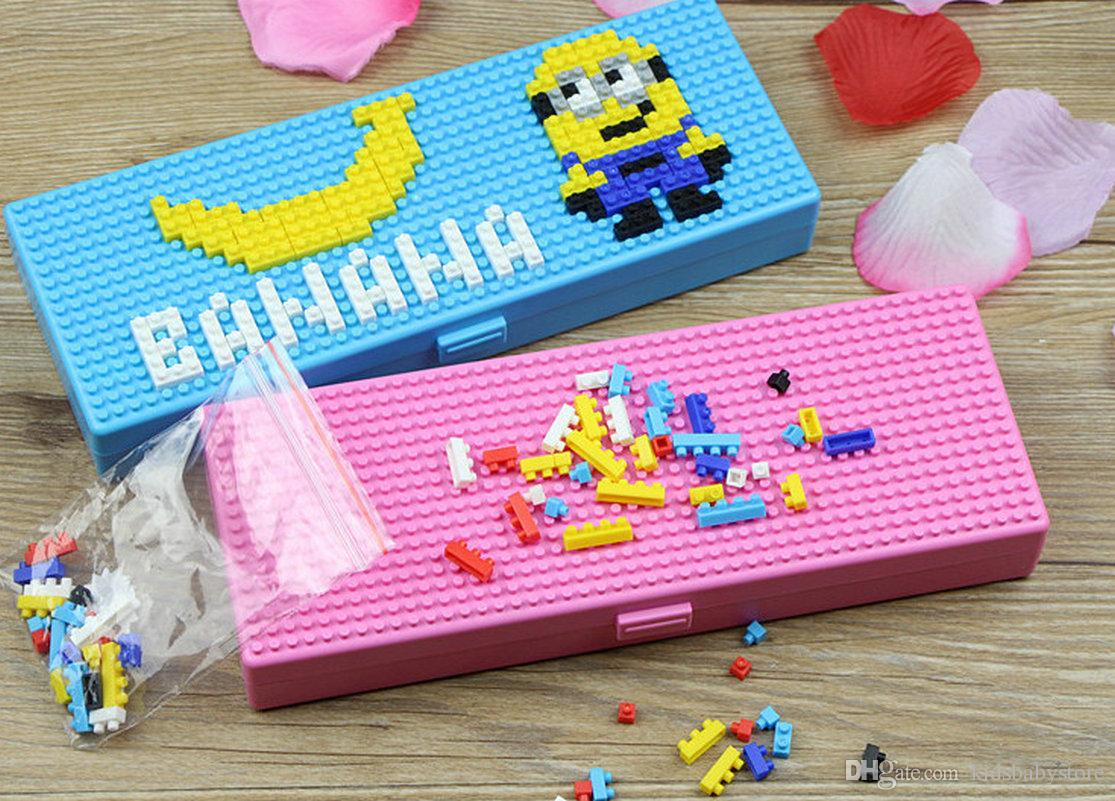 Multicolors Children toy bricks stationery box kids kindergarten educational creative building blocks puzzle stationery gifts for boys girls