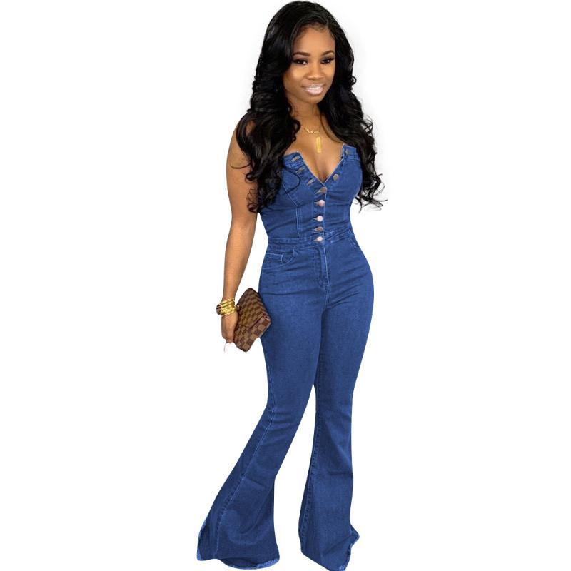 Monos de mujer Mamamitas Primavera Caída Sexy Mujeres Azul Jeans Sin tirantes Sin mangas Botones Denim Flare Largo Moda Streetwear Pantalones