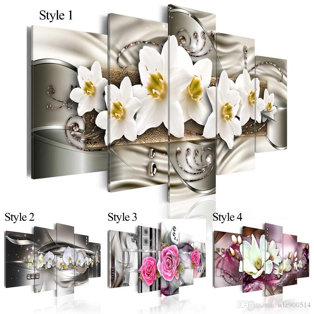 5 шт. Мода Wall Art Холст для живописи Mangnolia Flower Orchid Flower Современные украшения дома, выберите цвет: 4 и размер: 3 (без рамки)