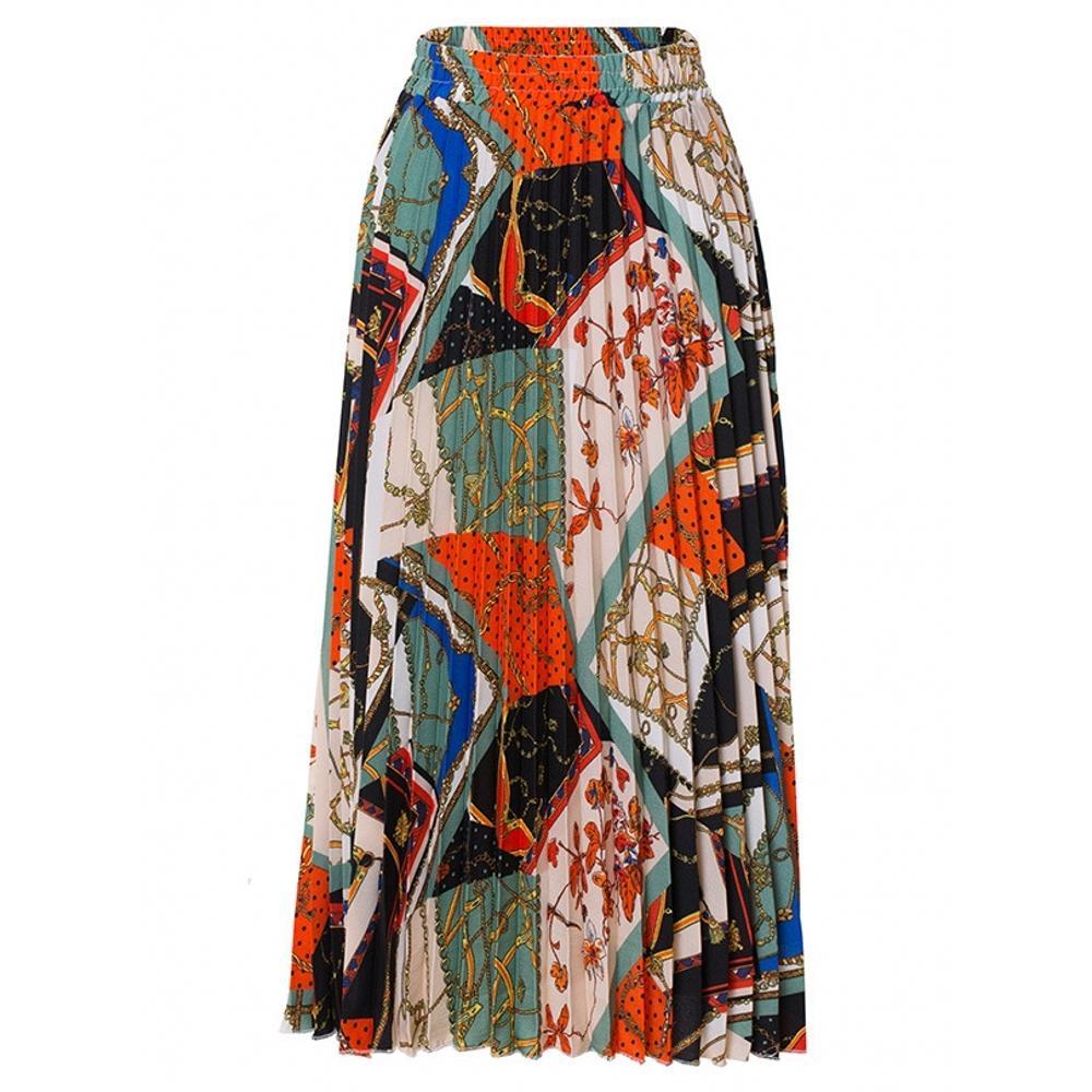 2019 de Moda de Nova cintura alta saia plissada Mulheres Primavera Verão Midi saias das mulheres elástico na cintura uma linha longa Saias Para Mulheres Rok