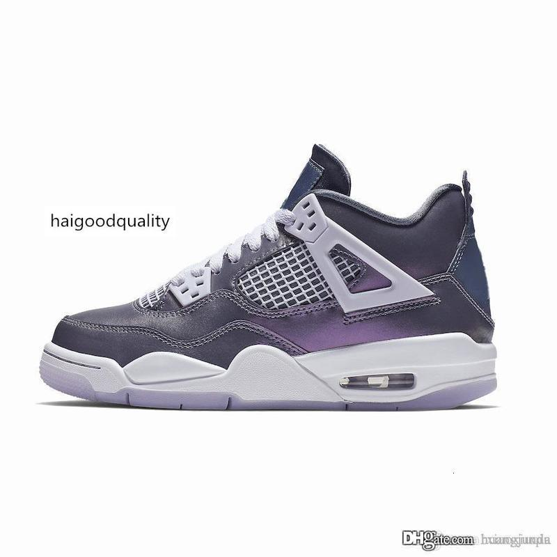 Cheap womens retro 4s basketball shoes Monsoon Blue Purple chameleon new 2019 youth kids j4 air flights jumpman iv sneakers tennis with box