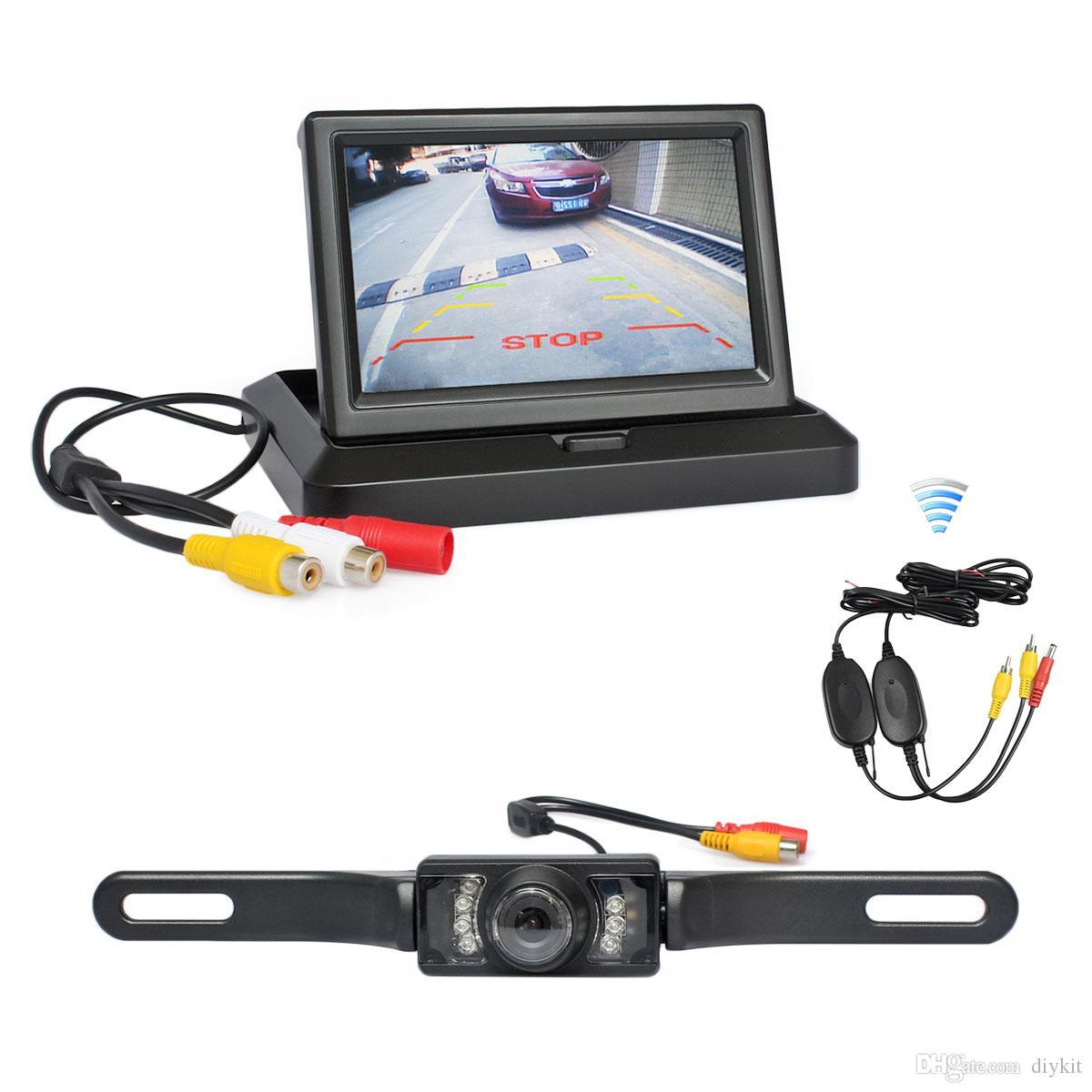 DIYKIT Wireless Parking System 5inch Foldable Rear View Monitor Car Monitor Waterproof IR Night Vision Rear View Car Camera