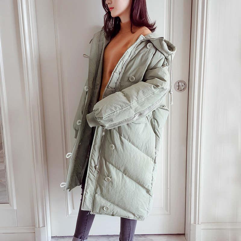 Down-Baumwolle gefütterte Jacke Frauen BF Art-lose Wintermäntel Hoodies Lang Parka Femme Frauen-Jacken-Winter-warme Steppmantel C5951
