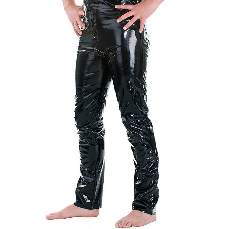 ZOGAA New Sexy Men Skinny Faux PU Leather Pants Shiny Trousers Nightclub Stage Performance Singers Dancer Jeans Plus Size Hot