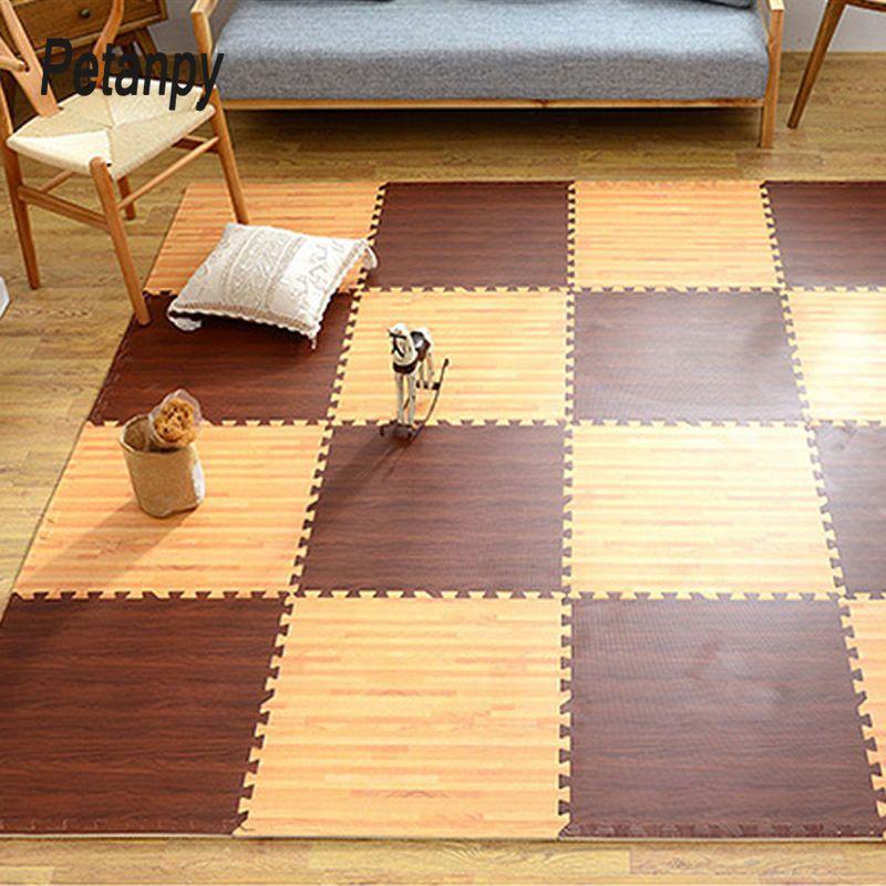 16PCS imitazione venatura del legno opaco mosaico schiuma EVA Puzzle Mats bambino Piano puzzle stuoia per il Bambini ATOSSICI tappeti striscianti