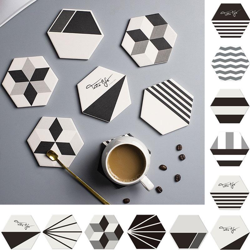 Matriz de geometría de diatomita Posavasos de ratón para la bebida del café Absorción Europa Hexágono agua y de secado rápido de la Copa Mat Conjunto En la tabla de cocina