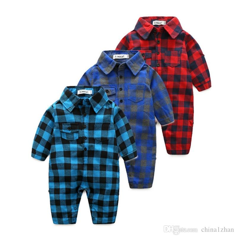 Baby Boy Clothes Plaid Toddler Boys Rompers Long Sleeve Infant Jumpsuits Summer Boutique Baby Clothing 3 Colors Wholesale DHW3236