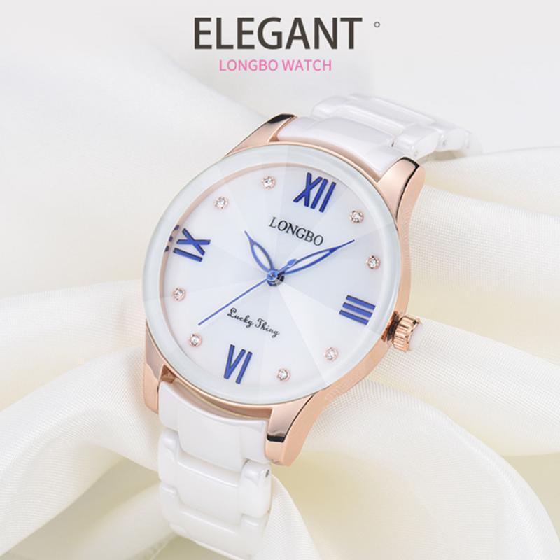 Longbo Breve face Shell Dial cerâmica Correia Relógios Mulheres senhoras pulseira relógio de pulso Dropshipping Relógio 80170